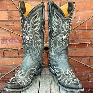 OLD GRINGO Rare Hitchcock Skull Studded Boots 8